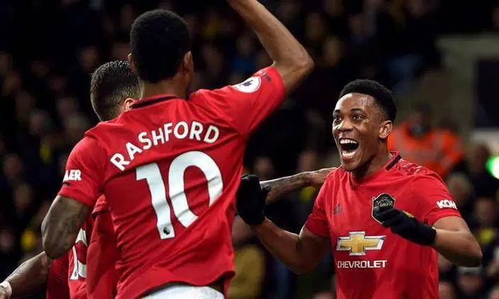 Rashford (số 10) là nguồn cảm hứng giúp Man Utd toàn thắng ba trận gần nhất. Ảnh: Reuters.