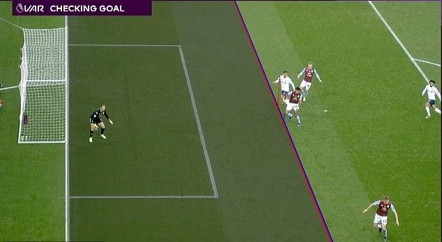 Tình huống Firmino (áo trắng) đưa bóng vào lưới Aston Villa nhưng không được công nhận. Ảnh: PL.