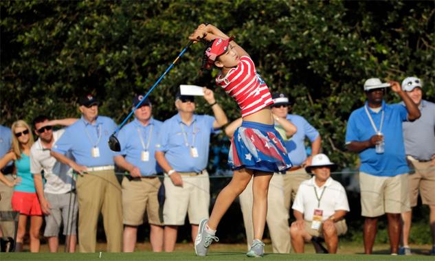 Lucy Li từng gây ấn tượng mạnh tại Women's US Open 2014 khi mới 11 tuổi. Ảnh: AP.