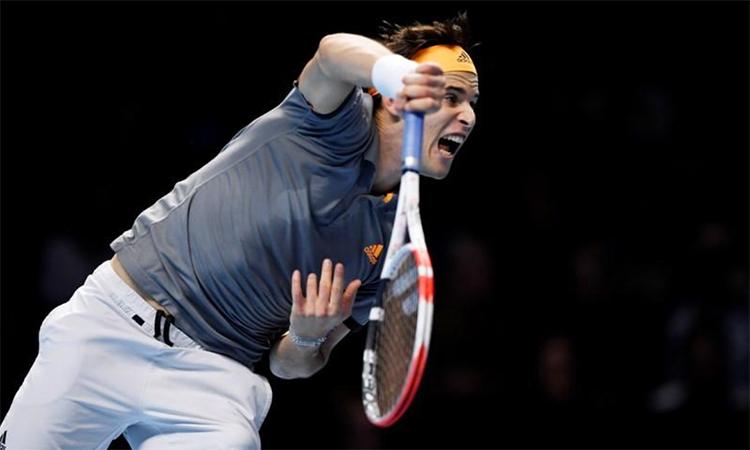 Thiem mất 102 phút để đánh bại Federer hôm 10/11. Ảnh: Reuters.