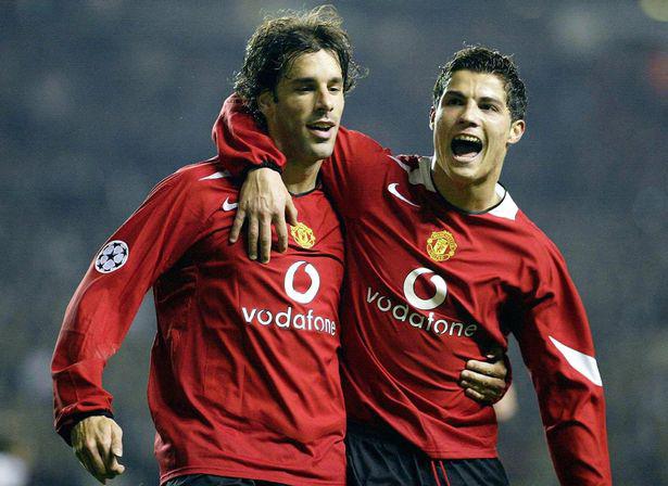Van Nistelrooy và Ronaldo thuở còn chơi chung cho Man Utd. Ảnh: PA.
