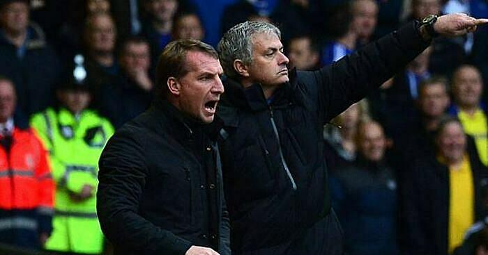 Mourinho (phải) chỉ được mời dẫn dắt Tottenham sau khi Rodgers từ chối Levy. Ảnh: Reuters.