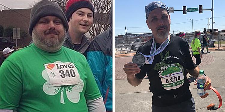 Tim Gourley trước và sau khi giảm cân. Ảnh: Runners world
