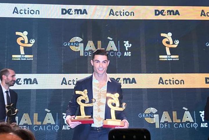 Ronaldo trong lễ trao giải Gran Gala del Calcio. Ảnh: Sky Italy.