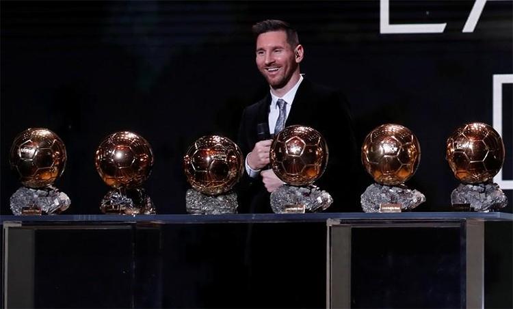 Messi lập kỷ lục giành sáu Quả Bóng Vàng. Ảnh: Reuters