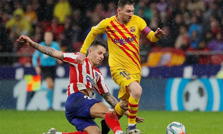 Messi ghi bàn quyết định vào lưới Atletico trong trận gần nhất. Ảnh: Reuters