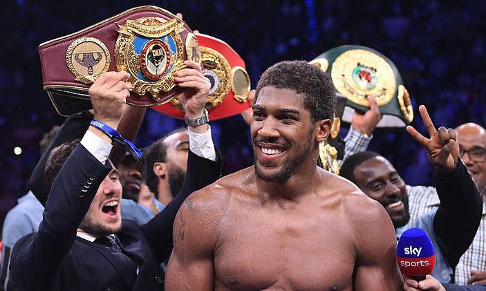 Joshua sở hữu lại bốn đai vô địch gồm WBA, WBO, IBF và IBO từ Ruiz. Ảnh: DM.