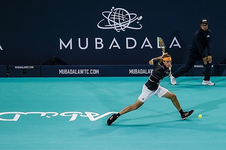 Tsitsipas dự giải đầu tiên sau khi vô địch ATP Finals. Ảnh: Mubadala.