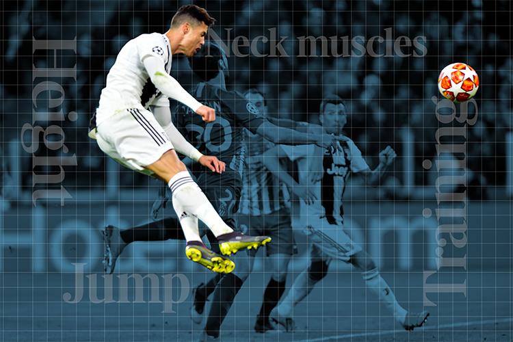 Độ cao (Height), kỹ năng bật nhảy (Jump), cơ cổ (Neck Muscles) và khổ luyện (Training) là những yếu tố làm nên tuyệt kỹ đánh đầu của Ronaldo. Ảnh: Times.