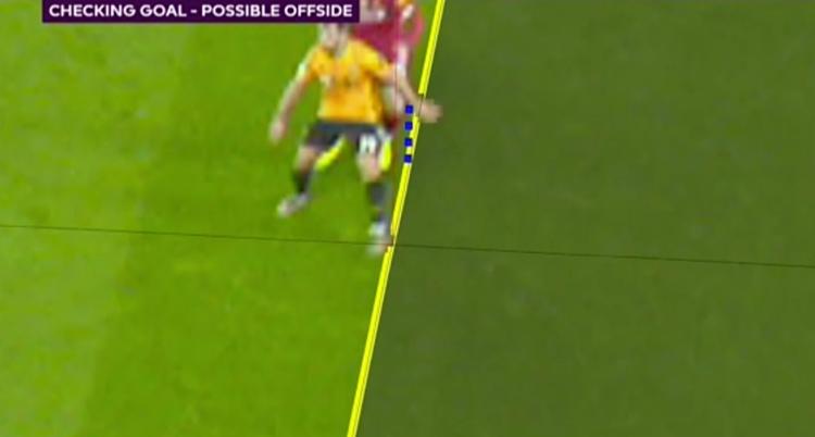 Tình huống Jonny (Wolves) bị thổi việt vị khi tay của anh ở dưới hậu vệ Liverpool.
