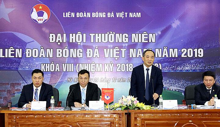 Đại hội thường niên Liên đoàn bóng đá Việt Nam diễn ra ngày 29/12 tại Hà Nội. Ảnh: VFF.