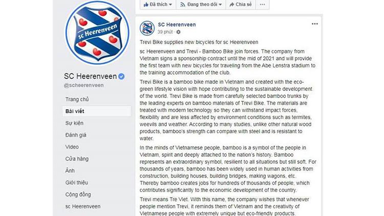Thông báo của CLB Heerenveen trên fanpage chính thức.