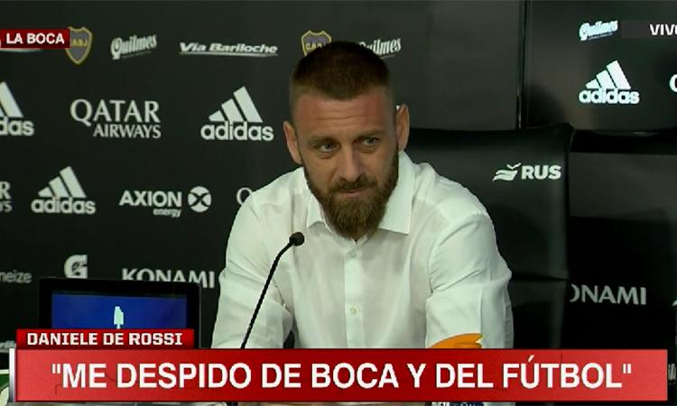 De Rossi đượm buồn khi thông báo chia tay Boca và kết thúc sự nghiệp thi đấu.