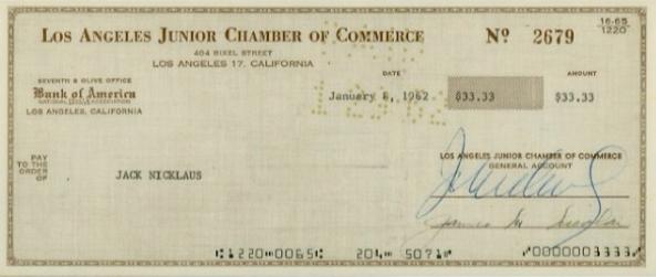 Tấm séc tiền thưởng trị giá 33,33 USD của Jack Nicklaus.