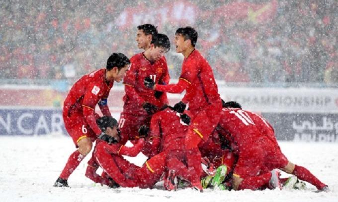 Hình ảnh xúc động của U23 Việt Nam tại Thường Châu (Trung Quốc) hai năm trước. Ảnh: Đức Đồng.