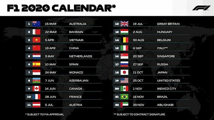 Lịch thi đấu của Formula 1 2020.
