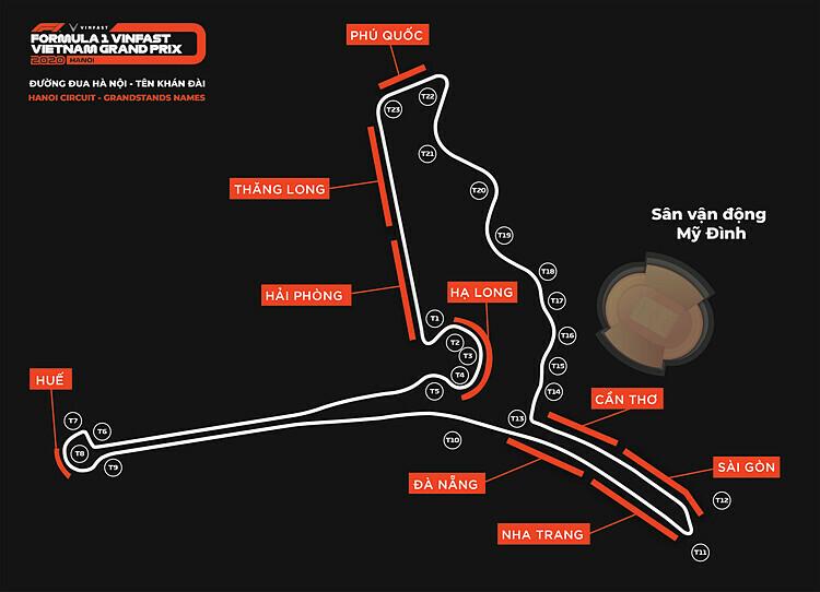 Vị trí và tên gọi các khán đài F1 Mỹ Đình.