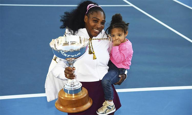 Auckland Mở rộng là danh hiệu WTA đầu tiên của Serena sau khi sinh con gái. Ảnh: AP.