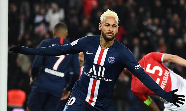 Cú đúp trước Monaco giúp Neymar có 12 bàn qua 14 trận ra sân cho PSG trên mọi mặt trận mùa này. Ảnh: AFP.