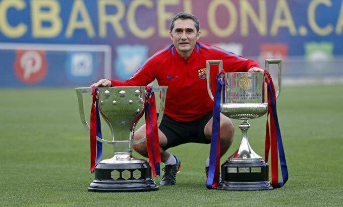 Valverde thành công trong việc giành hai La Liga và một Cup Nhà vua. Ảnh: FCB