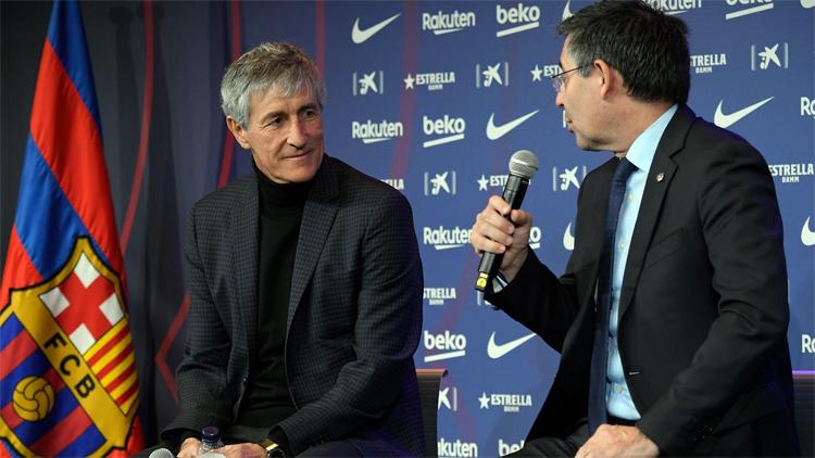 Setien cảm ơn chủ tịch Bartomeu vì đã cho ông cơ hội làm việc ở Barca. Ảnh: FCB.