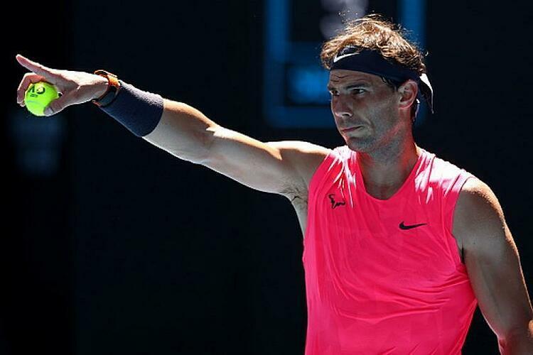 Nadal trong trận đấu với Dellien hôm nay 21/1.