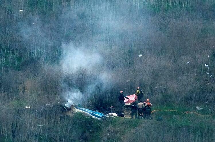 Hiện trường vụ tai nạn cướp đi sinh mạng của Kobe Bryant và con gái 13 tuổi. Ảnh: Reuters.