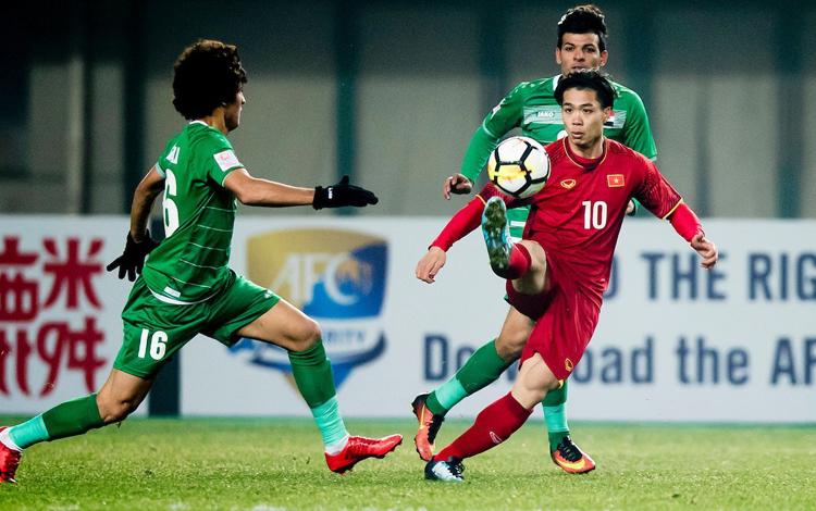 Công Phượng ghi bàn vào lưới Iraq tại tứ kết giải U23 châu Á năm 2018. Ảnh: AFC