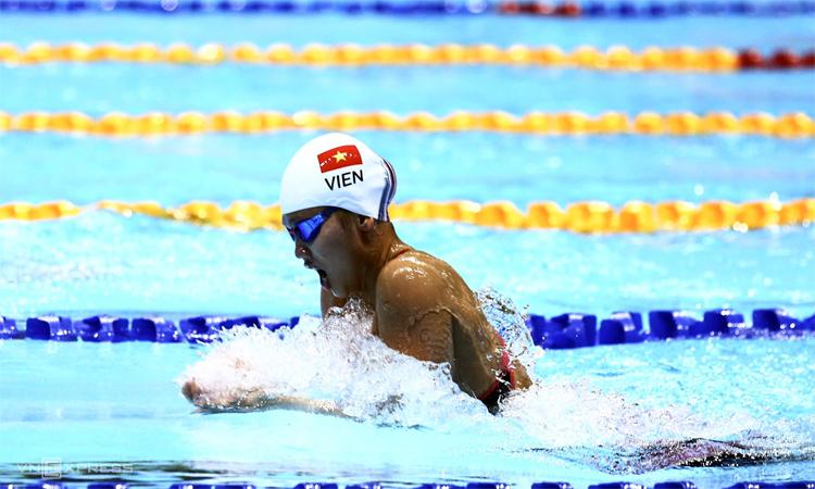 Ánh Viên thi đấu ở SEA Games 30 - giải đấu cô giành 6 HC vàng. Ảnh: Phạm Đương.
