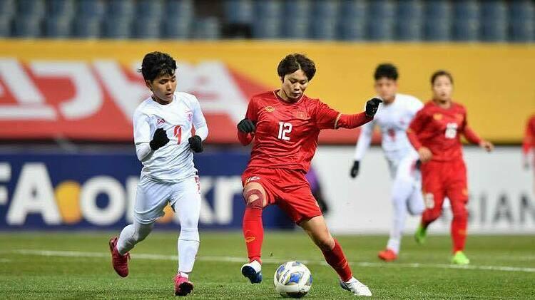 Việt Nam đánh bại Myanmar 1-0 trên sân Jeju hôm 6/2, giành vé đá play-off tranh suất dự Olympic 2020. Ảnh: AFC
