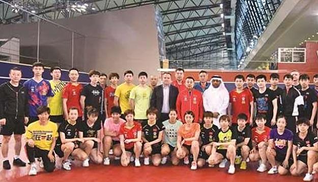 Tuyển bóng bàn Trung Quốc đang tập huấn tại Qatar. Ảnh: Sport.163