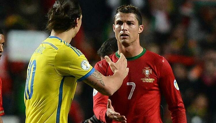 Ibrahimovic và Ronaldo trong lần chạm trán nhau ở trận play-off tranh vé dự World Cup 2014.