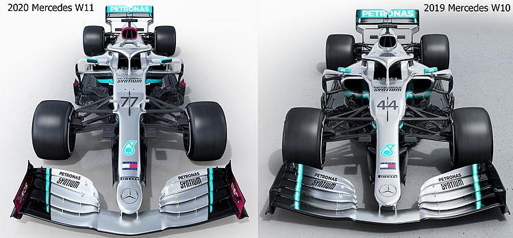 So sánh mẫu xe W11 (trái) và W10. Ảnh: Mercedes.