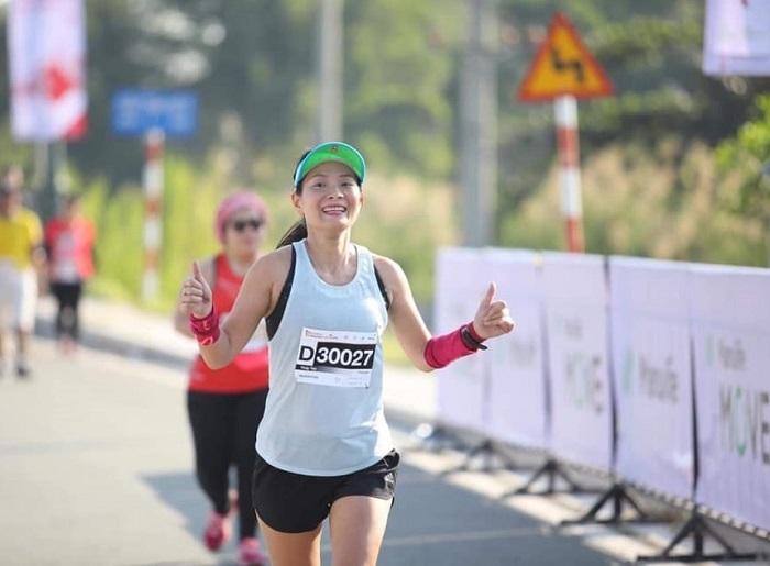 Runner Phạm Thị Hồng Thủy trong một cuộc thi chạy bộ. Ảnh: Run For Fun.