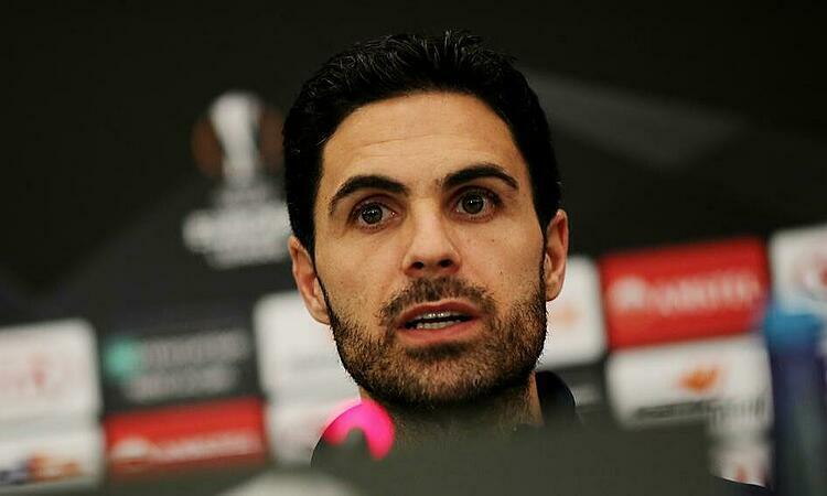 HLV Arteta lần đầu cầm quân dự Europa League. Ảnh: Reuters.