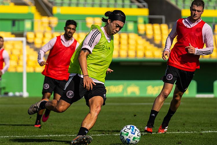 Lee Nguyễn trên sân tậpInter Miami hôm 18/2, chuẩn bị cho MLS 2020. Ảnh: IMFC.