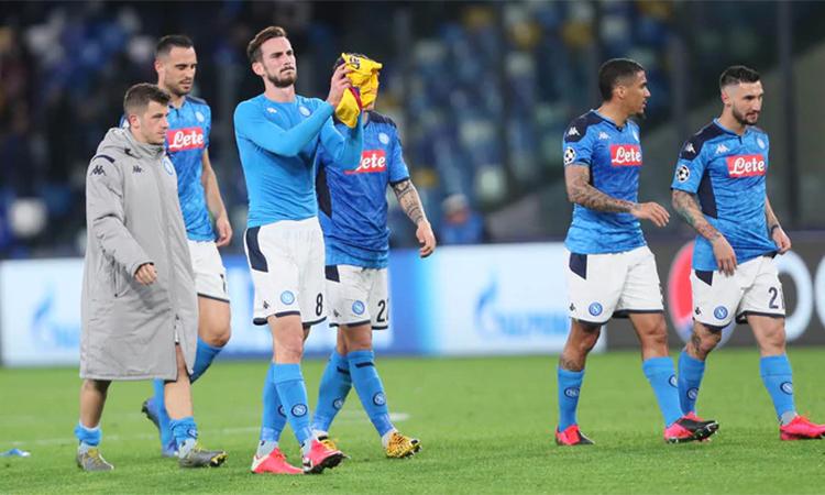 Napoli tiếc nuối khi trận đấu kết thúc.Ảnh: ANSA.