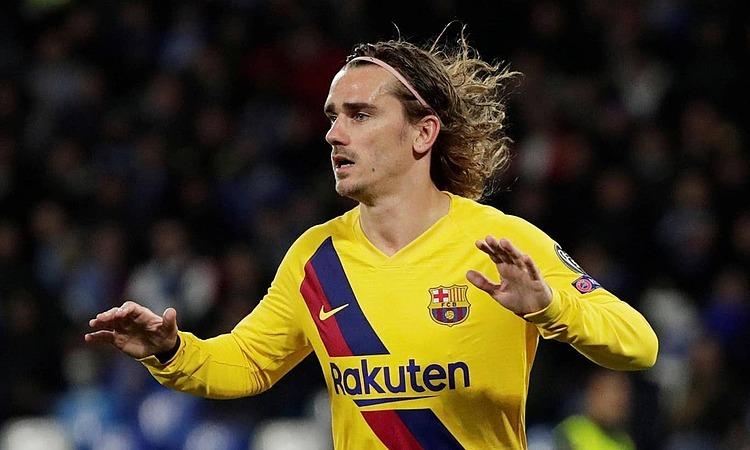 Griezmann giúp Barca chiếm lợi thế trước Napoli ở lượt đi. Ảnh: Reuters.