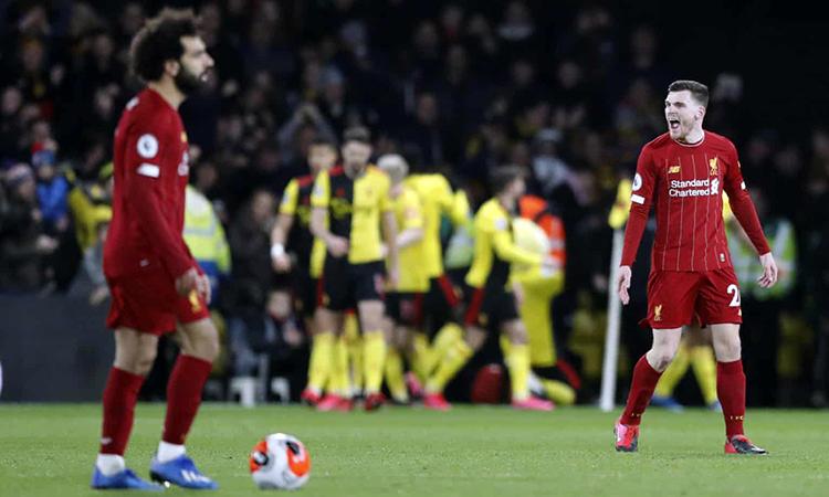 Nỗi thất vọng của cầu thủ Liverpool (áo đỏ). Ảnh: AP.