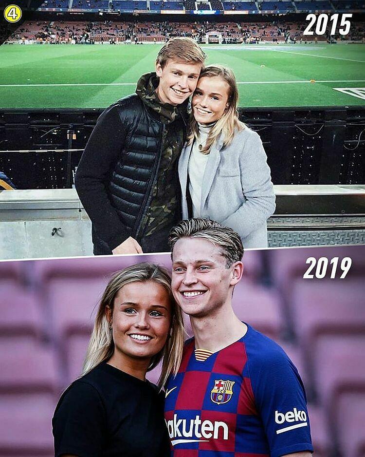 Sau bốn năm, từ chỗ là khách du lịch đến thăm quan sân Nou Camp, De Jong và bạn gái Mikky trở lại đây, khi tiền vệ người Hà Lan đầu quân cho Barca.