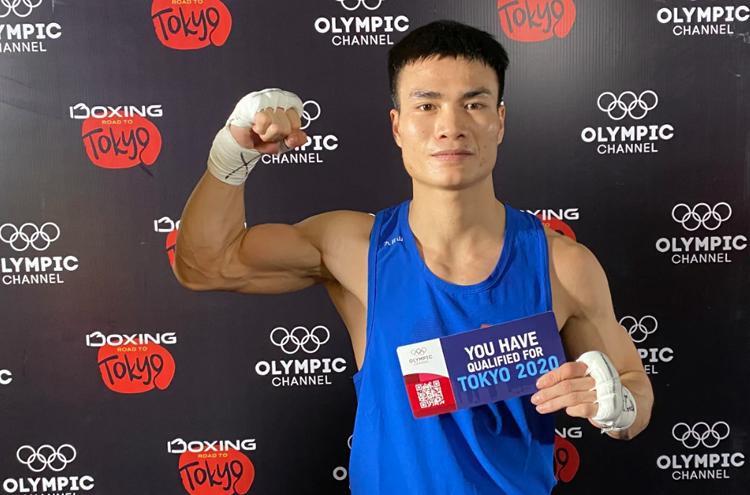 Nguyễn Văn Đương ăn mừng chiến thắng lịch sử tại vòng loại Olympic 2020 tại Jordan, tối 8/3.