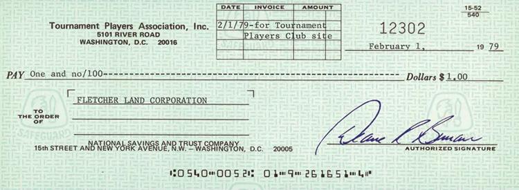 T? séc tr? giá 1 USD ?? mua khu ??t làm san? TPC Sawgrass n?m 1979. ?nh: PGA Tour.