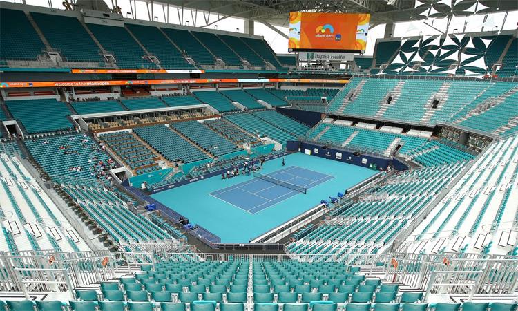 Nhà thi đấu Hard Rock, Miami hôm 12/3, ngay trước khi ATP tuyên hố hủy loạt sự kiện trong đó có giải Miami Open. Giải đấu này sẽ được dời sang
