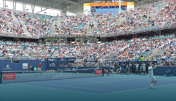 Miami Mở rộng (ảnh) cùng Indian Wells là các giải quần vợtlớn nhất bị hủy tính đến lúc này. Ảnh: ATP.