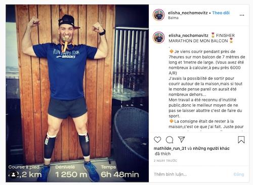 Elisha Nochomovitz chia sẻ thành tích trên instagram cá nhân.