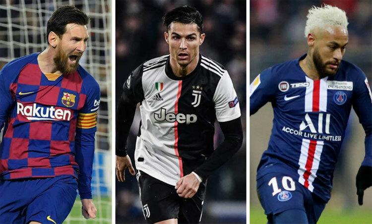 Neymar sánh vai với Messi và Ronaldo trong nhóm cầu thủ kiếm tiền giỏi nhất. Ảnh: AS.