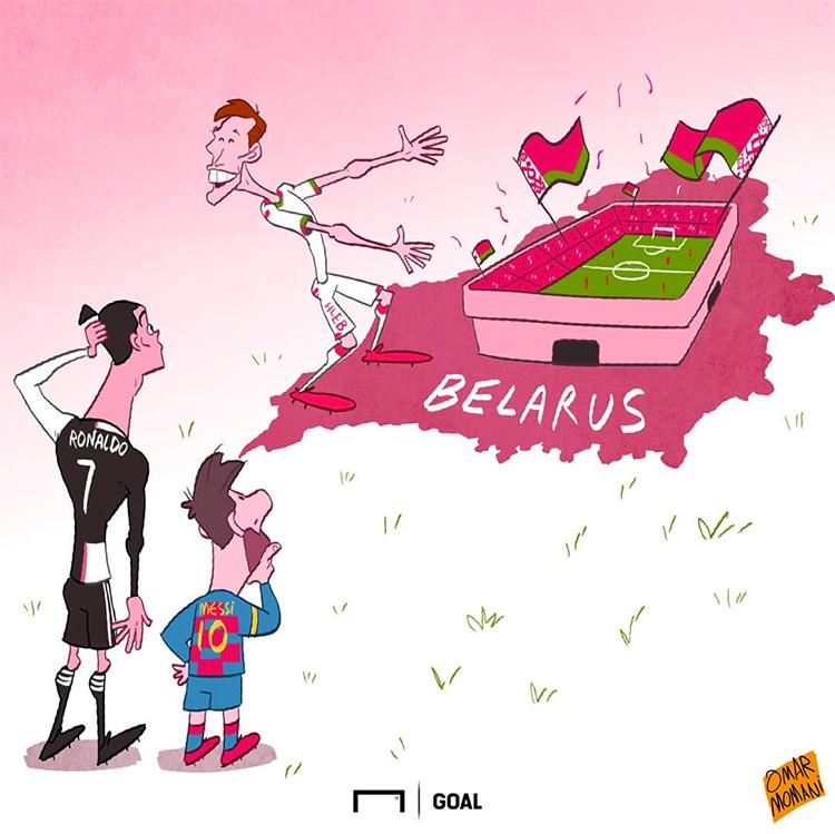 Biếm hoạ về việc Hleb mời Ronaldo, Messi sang chơi ở giải VĐQG Belarus.