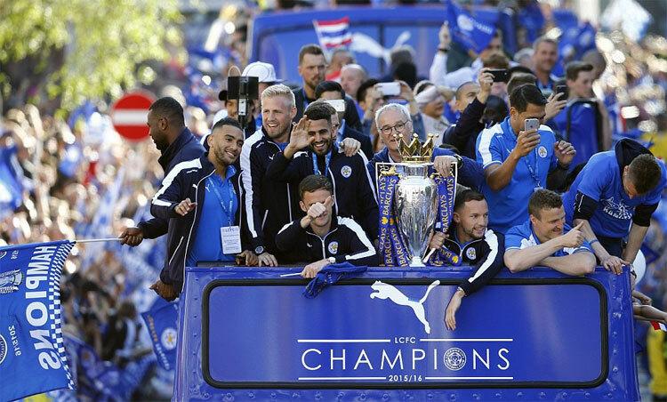 Chức vô địch của Leicester là bất ngờ lớn nhất lịch sử Ngoại hạng Anh. Ảnh: Reuters.