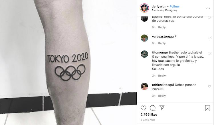 Ayala xin lời khuyên của người hâm mộ sau khi xăm hình Olympic 2020 ở chân. Ảnh: Instagram.
