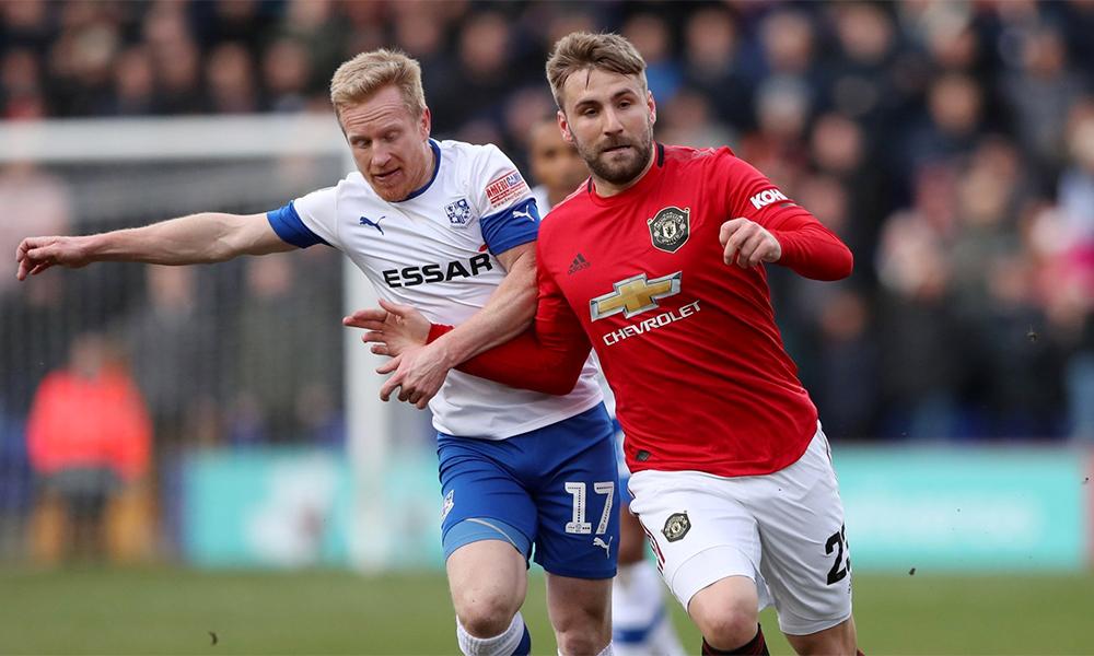 Luke Shaw đá trọn 90 phút và góp công giúp Man Utd giữ sạch lưới trước Trammere. Ảnh: TR.